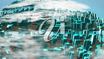 Royalty Free Clipart Image of a 3D City