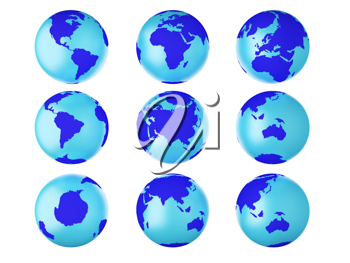 Royalty Free Clipart Image of Globes