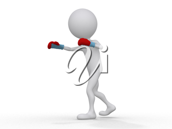 Royalty Free Clipart Image of a Figure Boxing