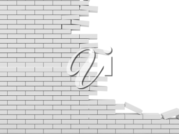 Royalty Free Clipart Image of a Broken Brick Wall