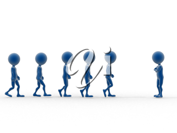 Royalty Free Clipart Image of Figures Walking Toward a Single Figure