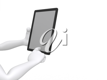 Royalty Free Clipart Image of a Figure Working on a Tablet