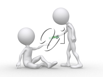Royalty Free Clipart Image of a Person Giving Someone Money