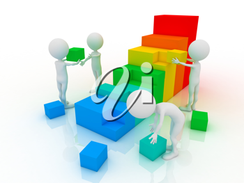 Royalty Free Clipart Image of Figures Stacking Blocks