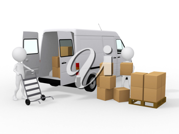 Royalty Free Clipart Image of Workers Loading Boxes into a Van