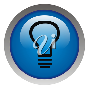 Royalty Free Clipart Image of a Button With a Lightbulb Symbol