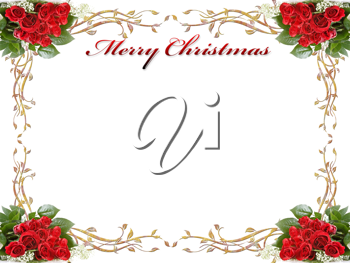 Royalty Free Clipart Image of a Christmas Background With Roses