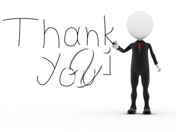 Royalty Free Clipart Image of a Figure Writing Thank you