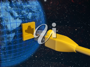 Royalty Free Clipart Image of an Ethernet Connected to a Globe