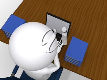 Royalty Free Clipart Image of a Figure Working on a Computer
