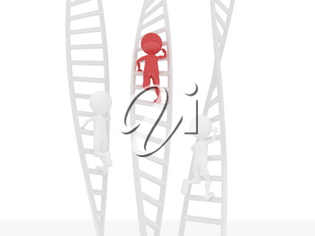 Royalty Free Clipart Image of Figures Climbing Ladders
