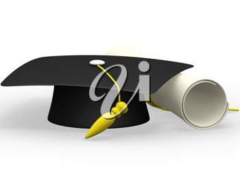 Royalty Free Clipart Image of a Diploma With a Cap