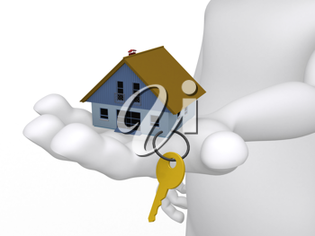 Royalty Free Clipart Image of a Hand Holding a House With Key