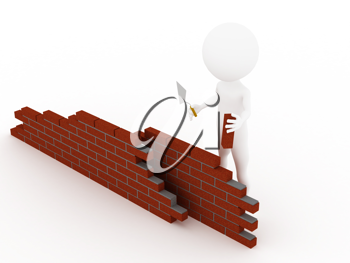 Royalty Free Clipart Image of a Worker Building a Brick Wall