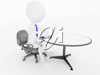 Royalty Free Clipart Image of a Person Sitting in an Office Chair