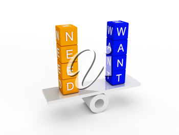 Royalty Free Clipart Image of a Needs and Wants Balance