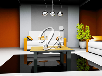 Royalty Free Clipart Image of an Office Waiting Room
