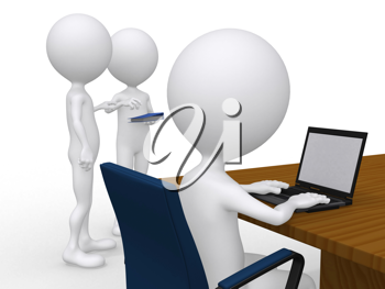 Royalty Free Clipart Image of a Man at a Computer and Two People Talking at a Corporate Meeting