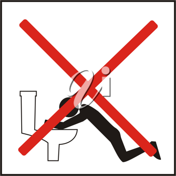 Royalty Free Clipart Image of an Icon Prohibiting Vomiting in a Public Toilet