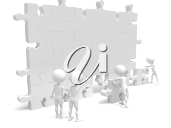 Royalty Free Clipart Image of a Team Building a Puzzle Wall