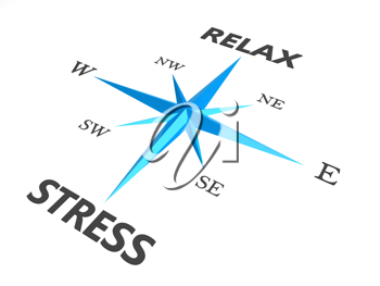 Royalty Free Clipart Image of a Compass With Relax and Stress