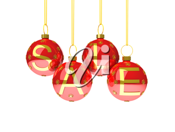 Royalty Free Clipart Image of the Word Sale on Christmas Decorations