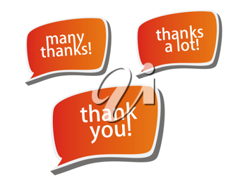 Royalty Free Clipart Image of a Collection of Thank You Bubbles