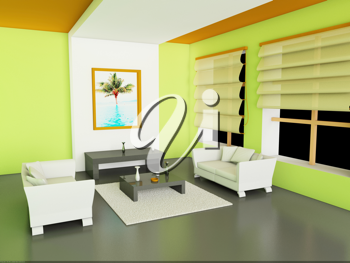 Royalty Free Clipart Image of a Modern Interior