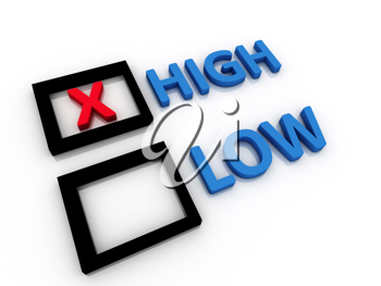 High and Low letters - 3d concept illustration
