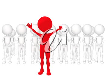 3d small people - volunteers. 3d image. Isolated white background.