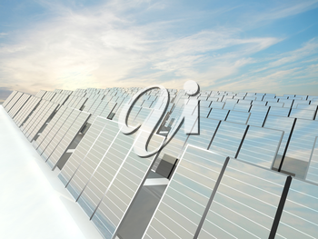 Solar Panels charging in a sunny sky