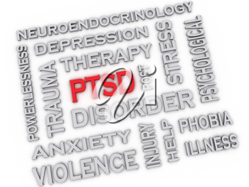 3d image PTSD - Posttraumatic Stress Disorder issues concept word cloud background