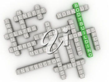 3d image Bodybuilding  issues concept word cloud background