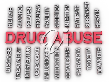 3d image Drug Abuse issues concept word cloud background