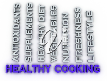3d image Healthy Cooking issues concept word cloud background