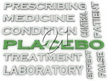 3d image placebo treatment   issues concept word cloud background