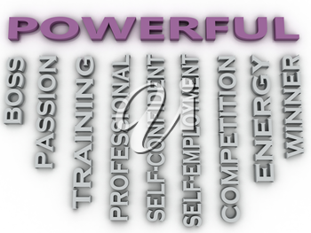 3d image Powerful  issues concept word cloud background
