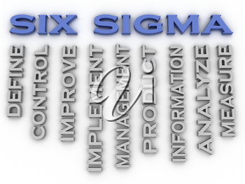 3d image Six sigma  issues concept word cloud background