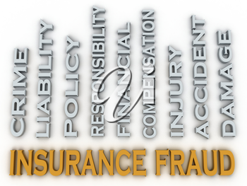 3d image Insurance fraud issues concept word cloud background