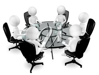 3d illustration of abstract people round glass table