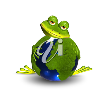 Royalty Free Photo of a Frog Holding a Globe