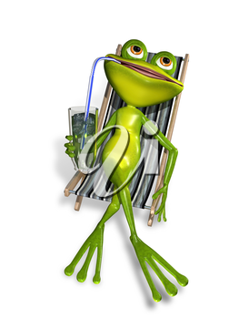 Royalty Free Clipart Image of a Frog Lounging in a Chair