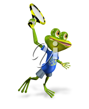Royalty Free Clipart Image of a Frog Playing Tennis