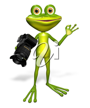 Royalty Free Clipart Image of a Frog Holding a Camera