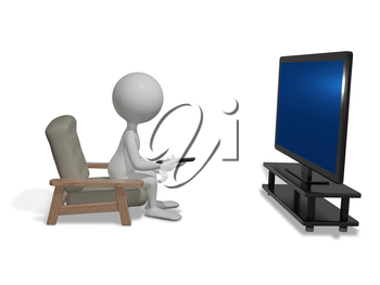 Royalty Free Clipart Image of a Person Watching Television