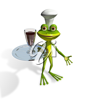 Royalty Free Clipart Image of a Frog Serving a Drink