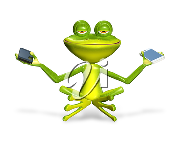Royalty Free Clipart Image of a Frog Holding Two Cellphones