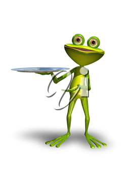 Illustration green Frog with a metal tray