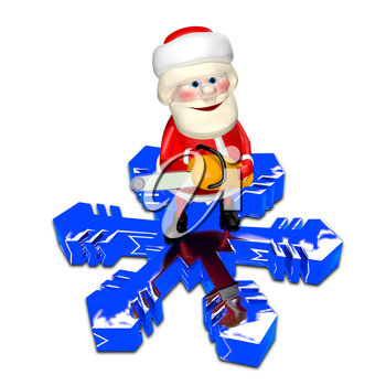 3D Illustration of Santa Claus on a Snowflake with Chainsaw