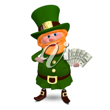 3D Illustration of Saint Patrick with a Fan Dollars